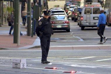 Police woman directing traffic