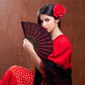 Photo Flamenco dancer woman gipsy red rose spanish fan
