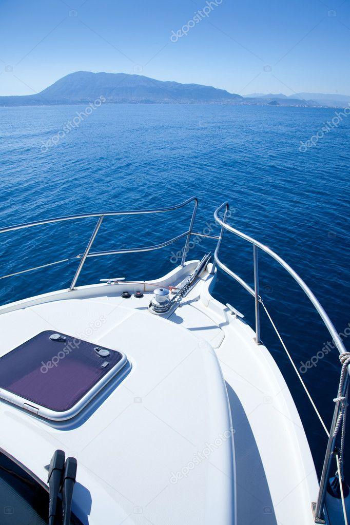 Boat sailing in Mediterranean sea