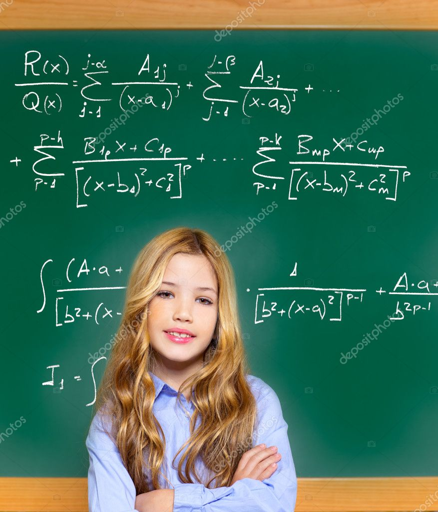 Kid smart student girl with difficult math formula — Stock Photo ...