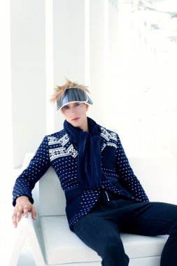 Modern male model with futuristic sci-fi visor