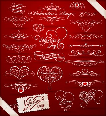Collection of decorative elements to Valentine's Day. Vector illustration clip art vector