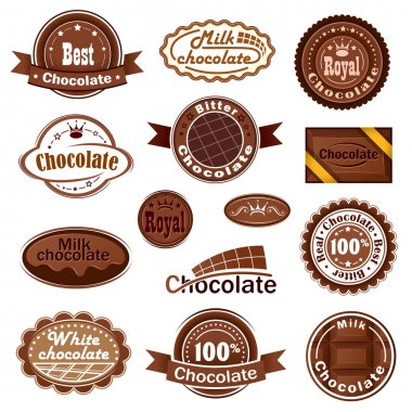 Set of chocolate badges