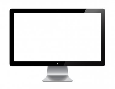 Isolated illustration of a black flat screen used for computer stock vector