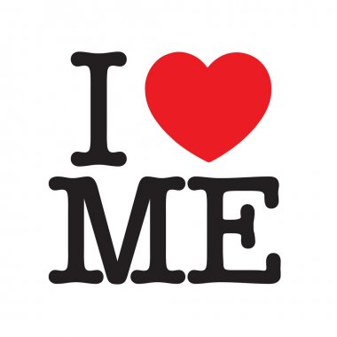 I Love Me, black letters and red heart, for narcissistic stock vector