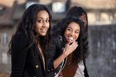 Fotografie Portrait of happy young african american teenage girls