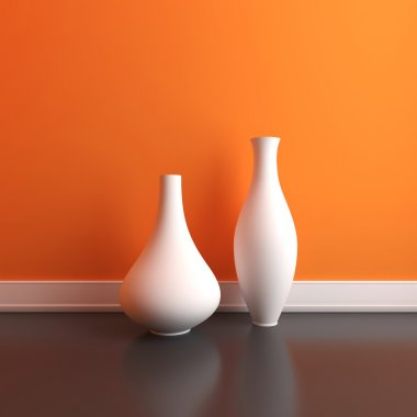 Vases near a wall