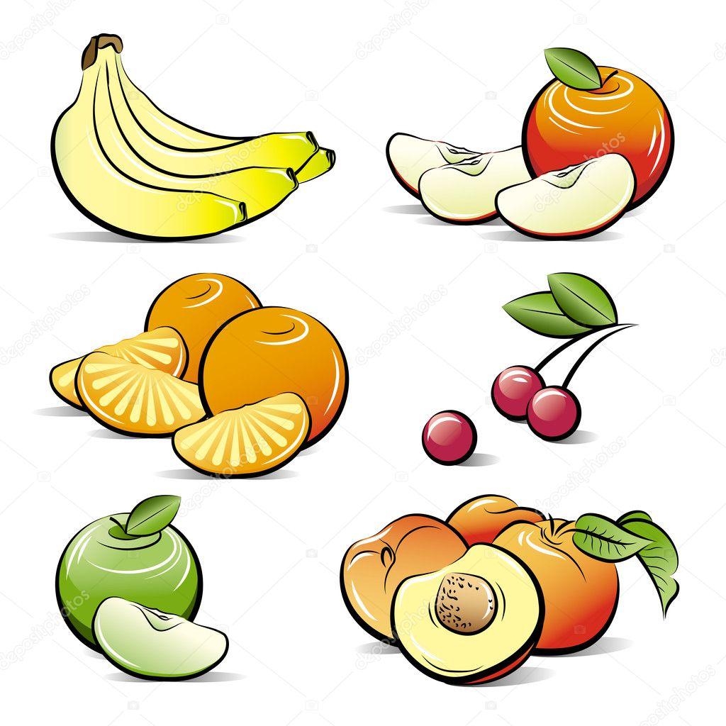 Dibujos Frutas De Colores Dibujo Conjunto De Frutas De Color