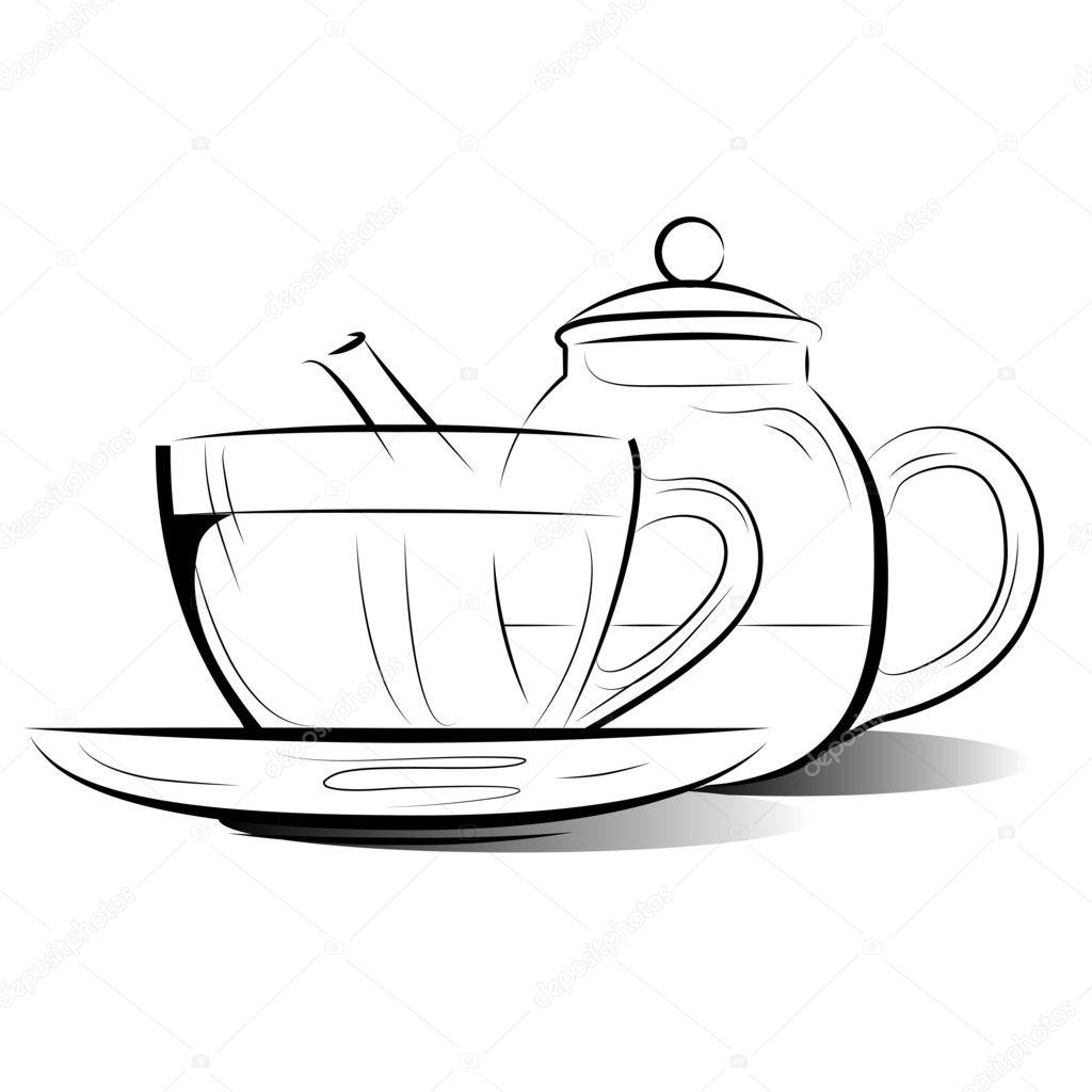 bule e xícara de chá de desenho sobre um fundo branco vetores de