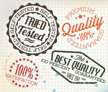 Vector retro teal vintage stamps for quality on old squared paper clip art vector