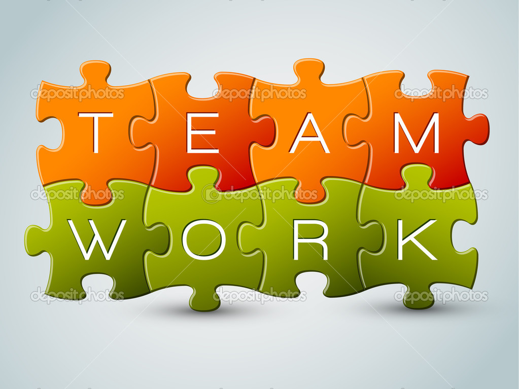 Vector puzzle teamwork illustration