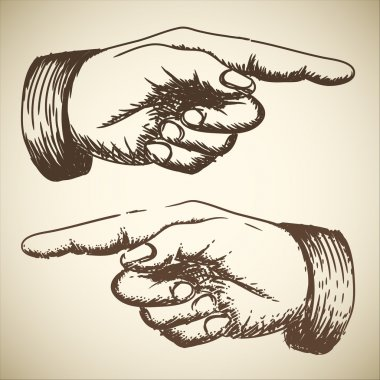 Vector retro Vintage pointing hand drawing clip art vector