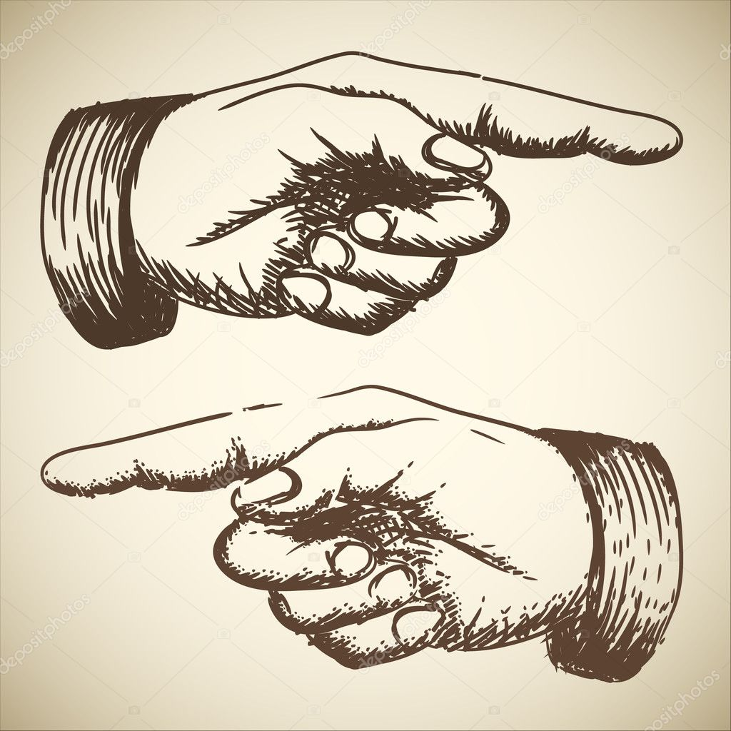 Vector retro Vintage pointing hand