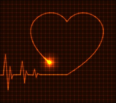 Abstract heart cardiogram illustration - vector