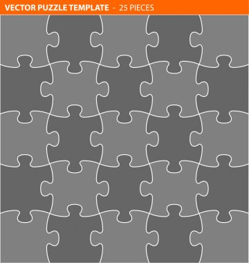 Complete vector puzzle, jigsaw template