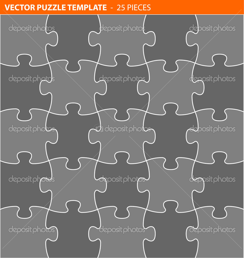Complete vector puzzle, jigsaw template — Stock Vector © orson #8408418