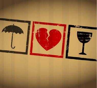 Vector Valentine broken heart