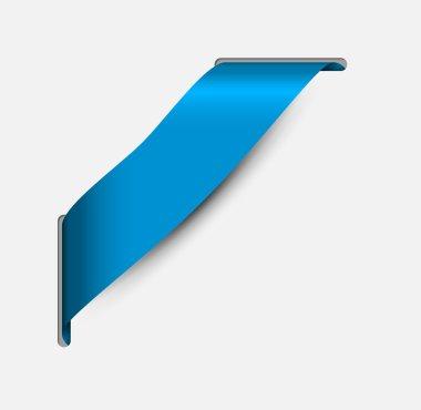 Empty blue corner ribbon