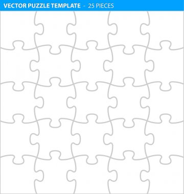 Complete puzzle, jigsaw template for print (25 pieces)