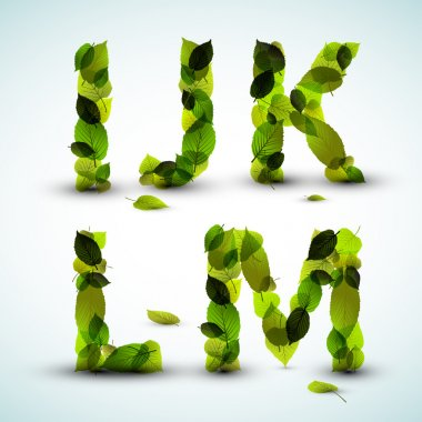 Vector alphabet letters made from leafs