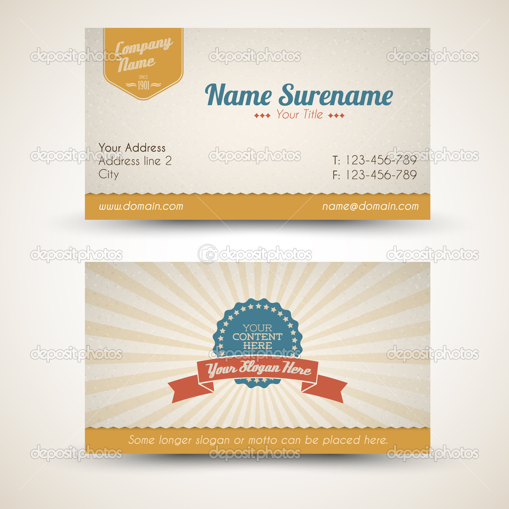 Vector old-style retro vintage business card — Stock Vector ...