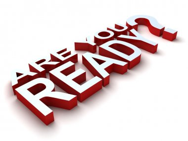 Words Are You Ready in 3D red and white letters