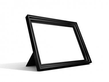 Blank black picture frame at white background
