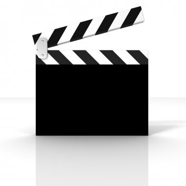 Classic black cinema clapper board on white background