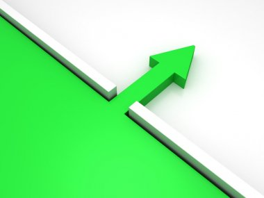 Green arrow through the wall barrier