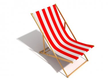 Striped red white beach chair on white background