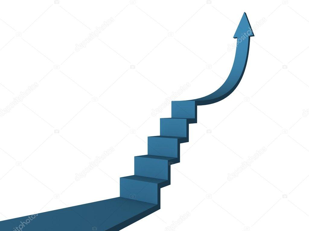 daf3652c8c9 έννοια μπλε βέλος σκάλα της επιτυχίας της επιχείρησης — Φωτογραφία ...