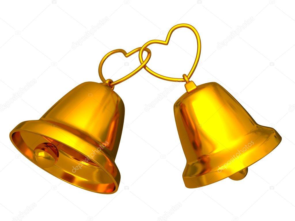 Golden Wedding Bells With Love Hearts