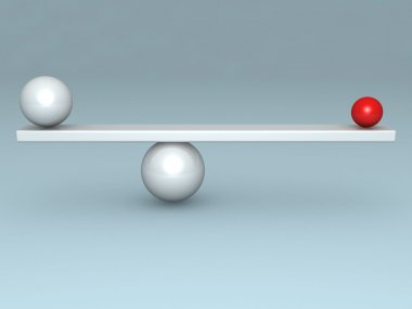 Balance concept with two red and white balls on scales