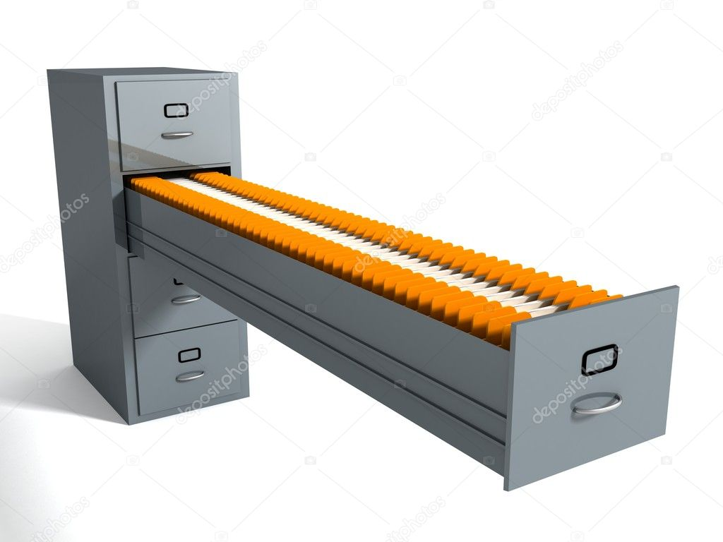 Filing cabinet with many file folders on white background — Stock ...