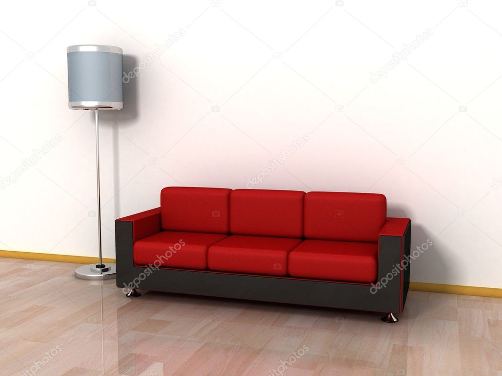 Aconchegante Sof Sof Vermelho E L Mpada De Assoalho Pela Parede  -> Papel De Parede Para Sala Com Sofa Vermelho