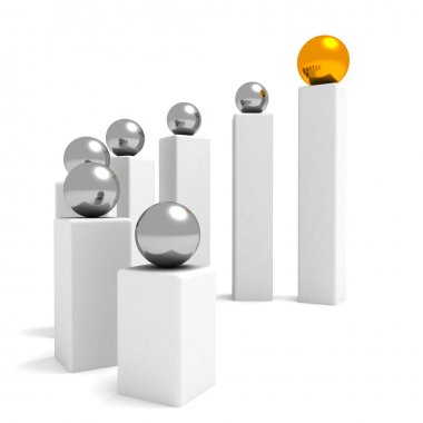 Conceptual diagram of teamwork and leadership with silver and golden balls