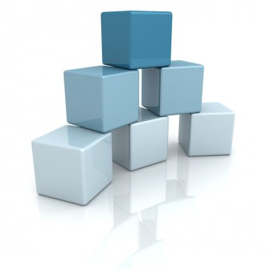 Blue building blocks or cubes on white background stock vector