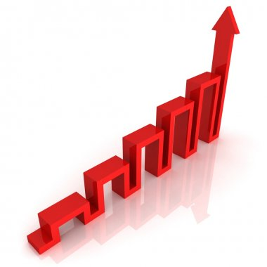 Red graph arrow of success rise growing up on white background