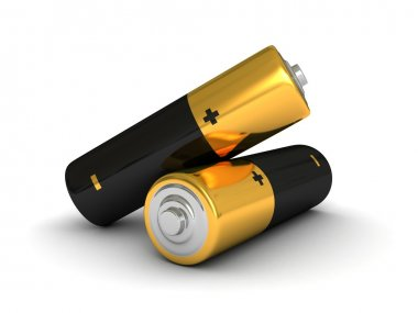 Two low-cost batteries on white background