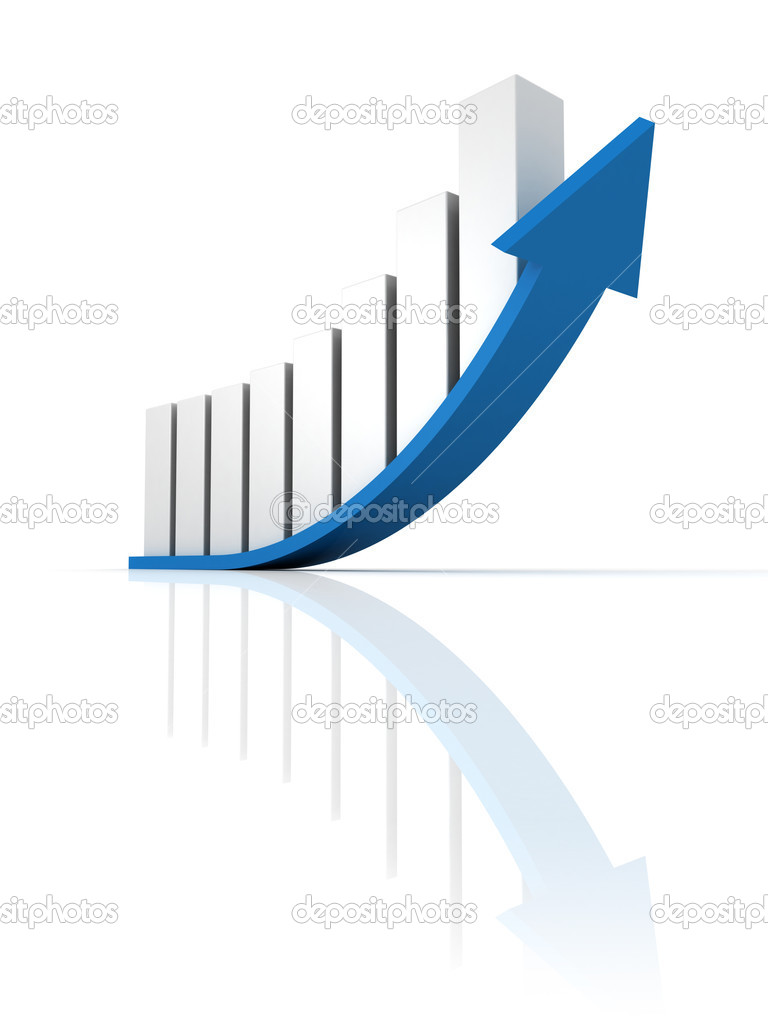 Business growth up bar graph with blue arrow — Stock Photo ...