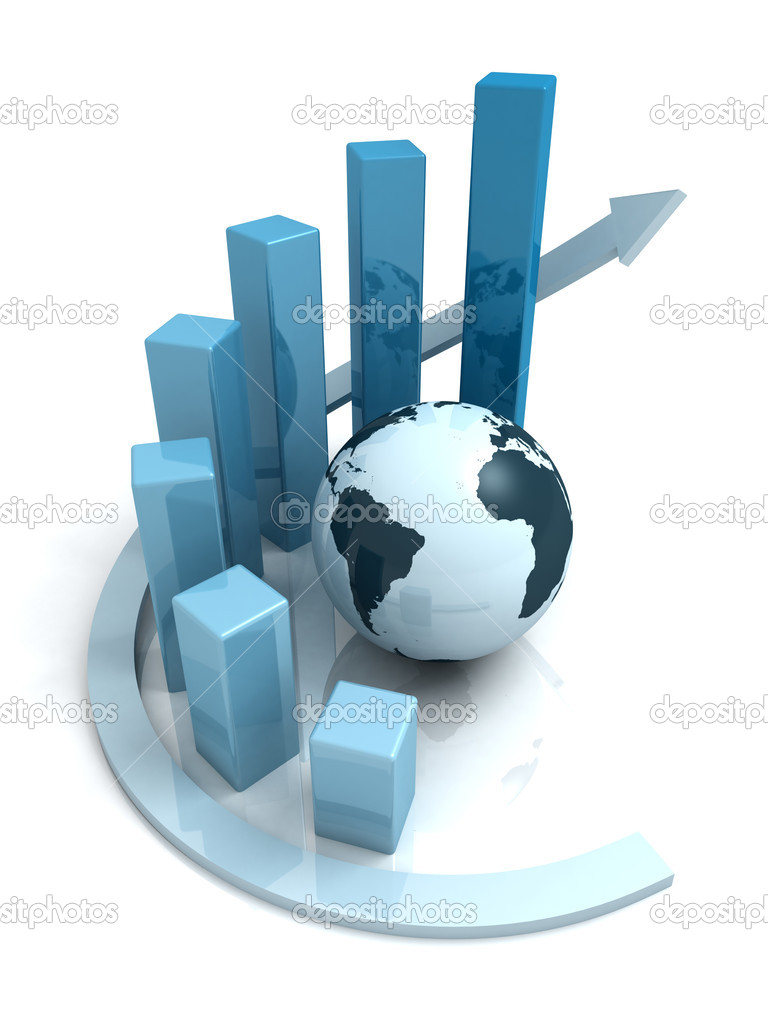 Global business growth blue bar graph with arrow