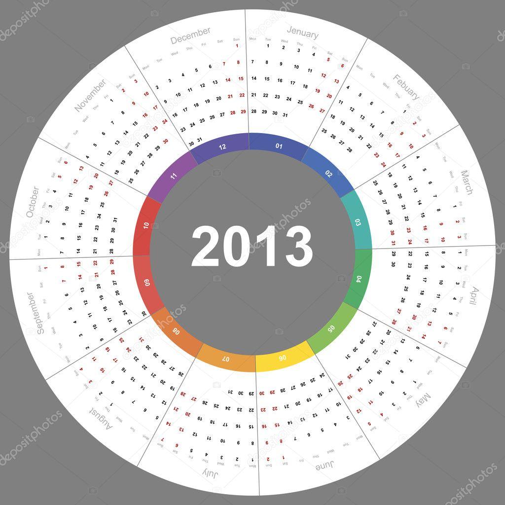 Illustration Calendar Design : Vector calendar round — stock pearldust