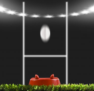 Rygby ball kicked to the posts