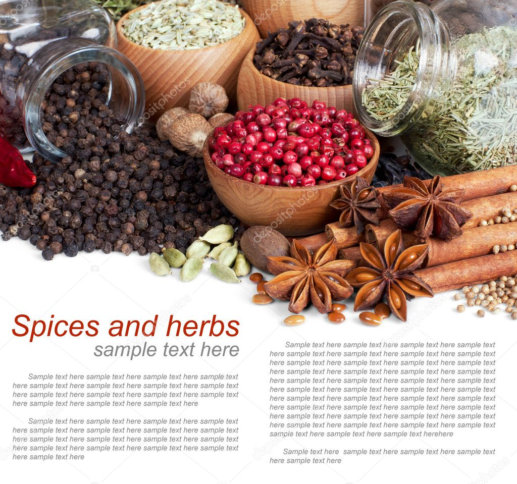 Background of different spices with sample text