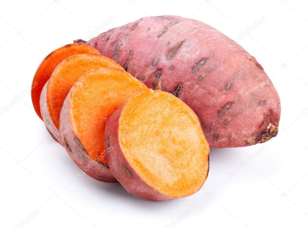 Sweet potato with slices isolated on white