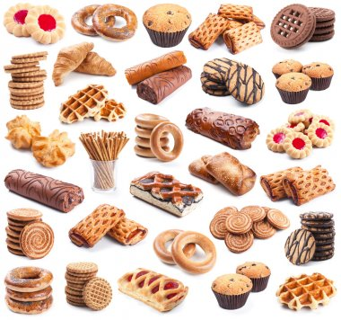 Pastry collection isolated on white