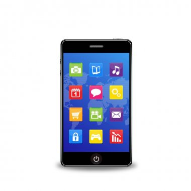 Vector smart phone with apps on a white background