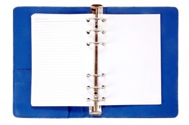 An opened blue leather notebook with blank paper