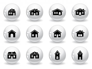 Web buttons, house and buildings icons