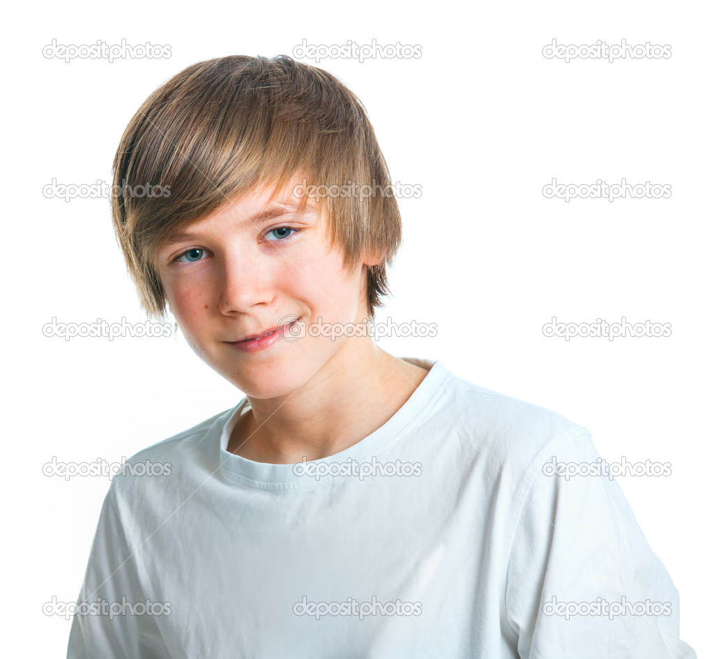 Portrait of young beautiful boy in white